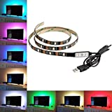 Cammate Lighting for HDTV - Multi-Color RGB 5050 1M 60leds - USB LED Backlight Strip with Dimmer for Flat Screen TV LCD, Desktop Monitors, Kitchen Cabinets