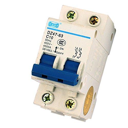 Industrielle Leistungsschalter (sourcingmap® 4500A Ausschaltvermögen 2 poliger Leistungsschalter AC 400V 10A DZ47-63 C10)