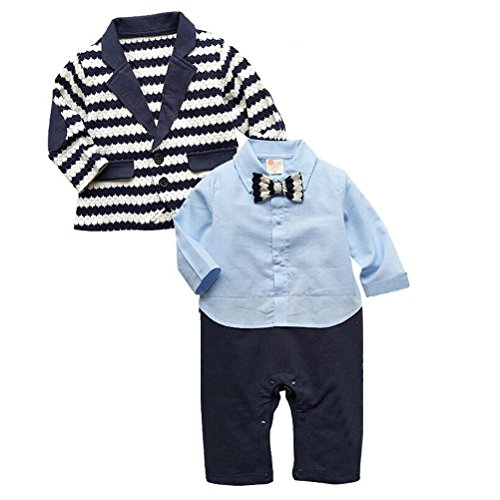 Laixing LT26 À la mode Baby Boys Romper Gentlemen Suits Jumpsuit Wedding Tuxedo