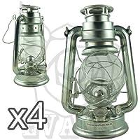 Lámpara de parafina, diseño tradicional, ligera y duradera, 25,4 cm, plata, Pack de 4