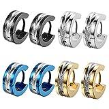 Oidea 4 Paare(8PCS) Herren Ohrringe, Edelstahl, Glänzend Poliert Creolen Ohrstecker Ohrschmuck, Schwarz Silber Gold Blau