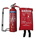 Home Kitchen Best Deals - PREMIUM FSS UK 1 KG ABC DRY POWDER BSI KITEMARKED FIRE EXTINGUISHER With CE MARKED FIRE BLANKET. IDEAL FOR HOMES BOATS KITCHEN WORKPLACE OFFICES CARS VANS WAREHOUSES GARAGES HOTELS RESTAURANTS