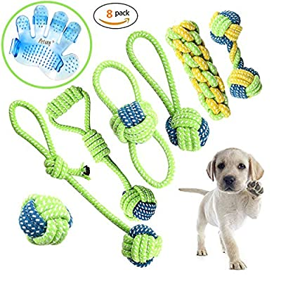 Petony Dog Toys, Interactive Chewing Rope Ball Toys Set for Small Puppies and Medium Dogs Pack of 7,with a cute bathing glove