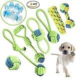 Set di giocattoli per cane, giocattolo da morsicare, corda, pallina, per cani di piccola e media taglia, confezione da 7