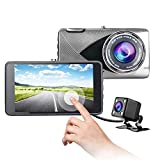 """Car dash cam,Gigue4"""" IPS Dual Lens FHD 1080P Dashboard Camera Wide Angle Front"""