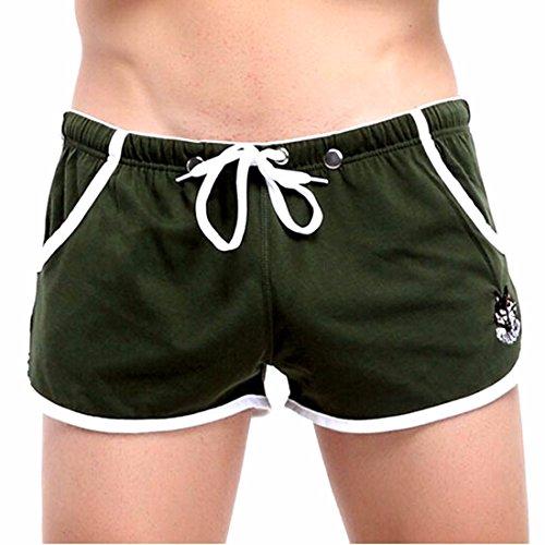 Slip Boxer Sportiva Degli Uomini Di Ginnastica Vita Cotone Casa Coulisse Pantaloncini Atletica Army Green
