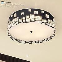 KHSKX Lampada da soffitto,Crystal LED di illuminazione a soffitto bianco e nero minimalista moderno creativo atmosferica circolare soggiorno sala da pranzo Camera da letto lampada 470mm , nero - Tenda Acrilica
