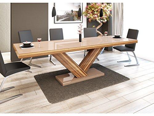 H MEUBLE Table A Manger Design Extensible 160÷256 CM X P : 89 CM X H: 75 CM – Cappuccino
