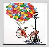 ZLYYH Peinture À l'huile Peinte À La Main,Hand Drawn Abstract Still Life,Ballons Colorés Rouge,Location Éclairage De Rue,Décor Minimaliste Moderne,Accueil,l'art De Mur Photo Peintures Décoratives Po