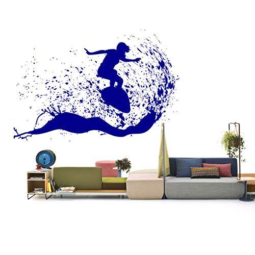 Zlhcichschöne Outdoor-Szene Mann Surfen Auf Einem Surfbrett Wand Aufkleber In Den Meereswellen Kunst Vinyl Aufkleber Home Decor DIY 84 * 57Cm (Outdoor-wand-kunst-szene)