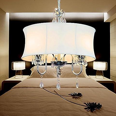 Lámpara de araña cristal simple y elegante de 3 piezas de tela, Lámpara de araña de tela de estilo europeo para sala de estar