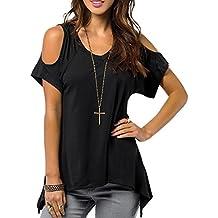 Toamen T-shirt Manche courte Col en V Décontractée Épaule Sexy Couleur pure Femmes (M, Noir)