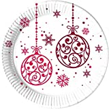 Christmas Red Balls Paper Plates 23cm