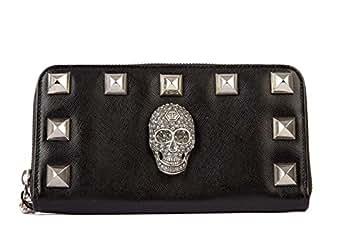 Philipp Plein Couture portefeuille porte-monnaie femme en cuir deux plis noir