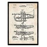 Nacnic Poster Patent Trompete. Blatt mit altem Design-Patent in der Größe A3 und Vintage-Hintergrund