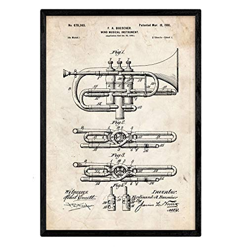 Nacnic Poster Patent Trompete. Blatt mit altem Design-Patent in der Größe A3 und Vintage-Hintergrund (Alte Trompete)