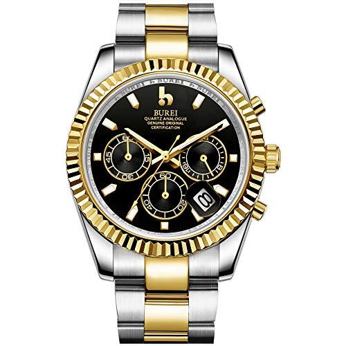 BUREI Herren Chronograph Quarz Uhr Analoge Zifferblatt Datumsanzeige Saphirglas Objektiv Silber und Gold Edelstahl Band