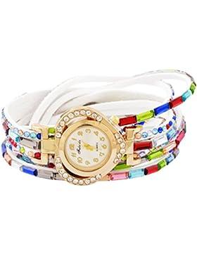 Souarts Damen Armbanduhr Herz Form Deko Uhr mit Batterie Charm Geschenk Weiß
