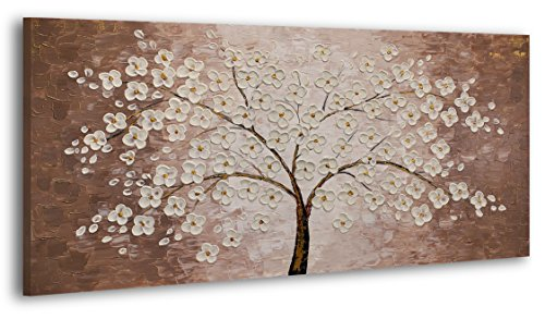 YS-Art 100% dipinto a mano + certificato   Effetto 3D   120x60 cm   Quadri acrilici YS-Art   Albero fortunato II   Quadro su tela e cornice in legno   Foto fatte a mano Immagine della parete unica   1 parte   Arte moderna (RR-183)