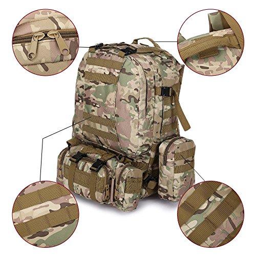 Sport im freien taktische militär rucksack multifunktionale sling schulter rucksack reisen große wandern trekking - rucksack mit 3 camping zerlegbar molle taschen, rucksäcke 60L CP