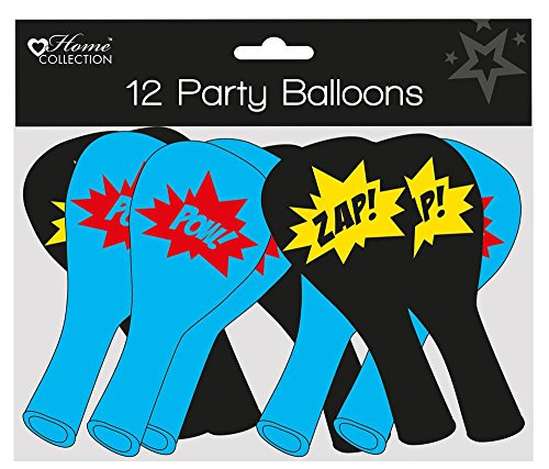 12 Stück Kinder Party Luftballons – Boy 's schwarz & blau Superheld Comic (Superhelden Kid)