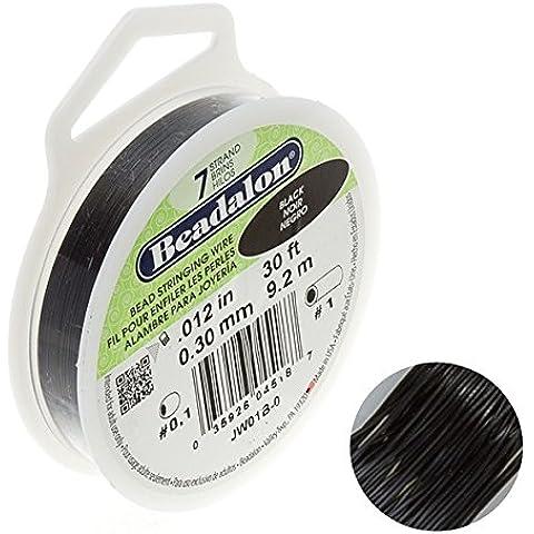 Beadalon-Filo metallico a 7 fili, 0,03 (0,012 Dia. 9,14 Meters cm, colore: nero