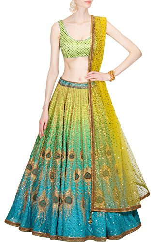 Vipul Women\'s Branded YELLOW & Blue Party Wear Silk Lehenga (Best Gift For Mummy Mom Wife Girl Friend, Holi Offers and Sale Discount)