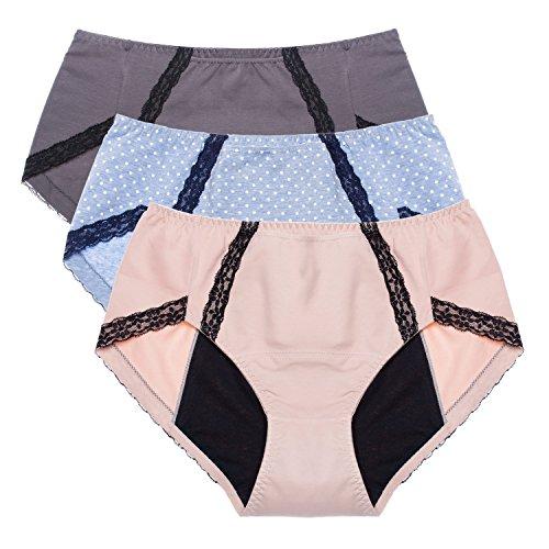 Intimate Portal Damen Total Security Auslaufsicherer Hygieneslip Für Periode Menstruation Inkontinenz Versteckte Tasche Grau Beige Blau 3er-Pack 3XL