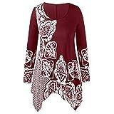 IZHH Damen Plus Size Shirt, Mode Oansatz Langarm Folk-Custom Print Unregelmäßiger Saum Top Bluse T-Shirt Rundhals Ethnic Style Print Stitching Unregelmäßiges Oberteil(Wein,XXXXX-Large)