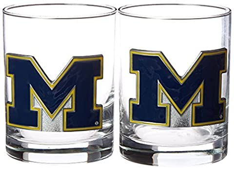 NCAA Michigan Wolverines Two Piece Rocks Glass Set by Great American Products