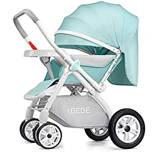 Ultralight Jogging Stroller,Foldable Pushchair Fabric Canopy Aluminum Frame Travel Buggy Rapid 4 Wheel Quick fold Pushchair with Canopy from Birth to 25 kg Suitable for Airplane-B   15