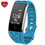 Juboury HR Fitness Trackers Fitness Armband mit Touchscreen Aktivitätstracker Herzfrequenz Schrittzähler Bluetooth Smart Wristand Wearable für Android und IOS Smartphon (Hellblau)