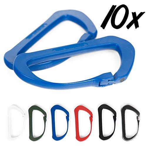 SHRED RACK ® Karabiner leicht aus Kunststoff mit Carbon Klickverschluss handgroß für Indoor & Outdoorsport (blau 10er Set)