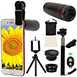 Orsda Phone Lens kit 10 in 1 obiettivi iPhone Sincewe, 8 x teleobiettivo smartphone/obiettivo fisheye/obiettivo 2 in 1 macro e grandangolo, selfie stick, mini treppiede per IPHONE8 OR123