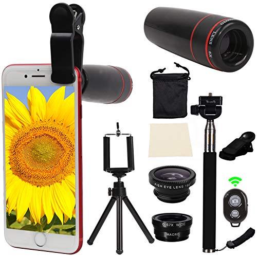 Orsda Handy Objektiv Vorsatzlinsen Telefon Lens Kit 10 in 1 Ziele iPhone sincewe 8x Tele objektiv Smartphone Fisheye Objektiv Ziel 2 in 1 Makro und Weitwinkel Stick Selfies Mini Stativ für iPhone8