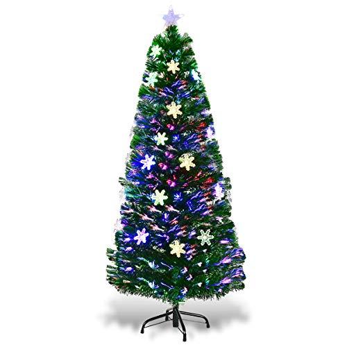 COSTWAY LED Weihnachtsbaum Künstlicher Tannenbaum Christbaum beleuchtet 90/120/150/180cm Grün mit Glasfaser-Farbwechsler (150cm)