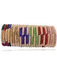 Zulka Multicolor Glass Bangle/Kada Set Studded with Zircon & Beads for Women & Girls(Pack of 24)