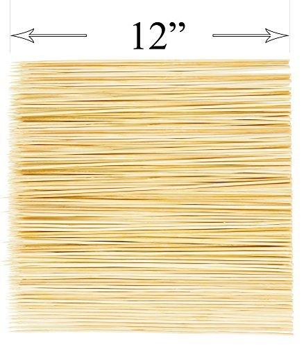 DecorRack Natur Bambusspieße Sticks, 400Stück Organic Grill Holz Kabob Spieße, Best für Grill, BBQ, Kebab, Marshmallow Bräter Oder Fruit Sticks 12 inch
