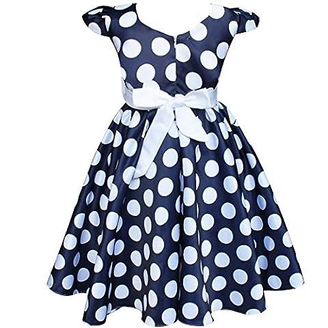 Robe Filles Enfant Cap Manches Robe d'été Noeud Papillon 2-7 Ans (3 ans, Bleu marine)
