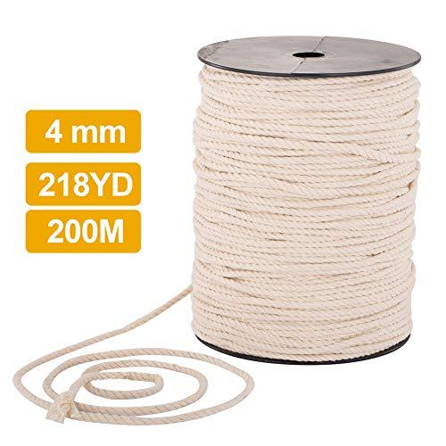 Cuerda algodón, cuerda macramé hecha mano algodón