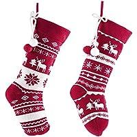Valery Madelyn Weihnachtsstrümpfe 46cm Gestrickte Wolle 2er Set Nikolausstiefel und Weihnachtssocken zum Befüllen und Aufhängen Lieber Weihnachtsmann Thema - Rot Weiß