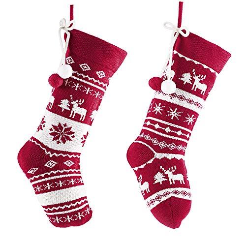 Valery madelyn 46cm decorazioni natalizie calze di natale set di 2 calze natalizie di babbo natale da riempire e appendere regali di lana lavorata a maglia per decorazioni natalizie rosso e bianco