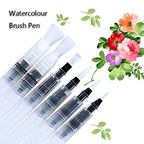 laconile 6pcs Aquarell Pinsel Pen Set Art Waterbrush Pinsel Pen weichen Bürste Tipps nachfüllbar Malen Kalligraphie Zeichnen Stift