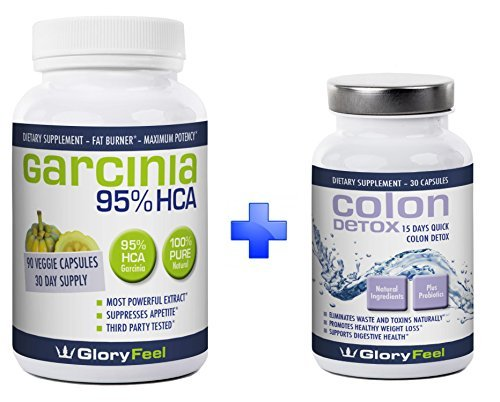 95% HCA Garcinia Cambogia Extract + Best Colon Detox BUNDLE For Fast Results - Combine 2 Best Sellers - Max Strength Detox Cleanse Pills with Pure Cambogia Extract to Reduce Appetite and Belly Fat by Gloryfeel