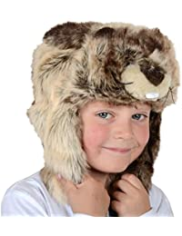 Boys Girls Childrens Deluxe Animal Hat With Ear Flaps Winter Super Soft Faux Fur