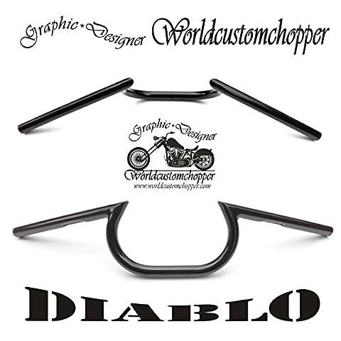 Guidon Handlebars Diablo verni z-bar x moto Custom Harley Davidson Sportster Dyna Softail Touring V-Rod