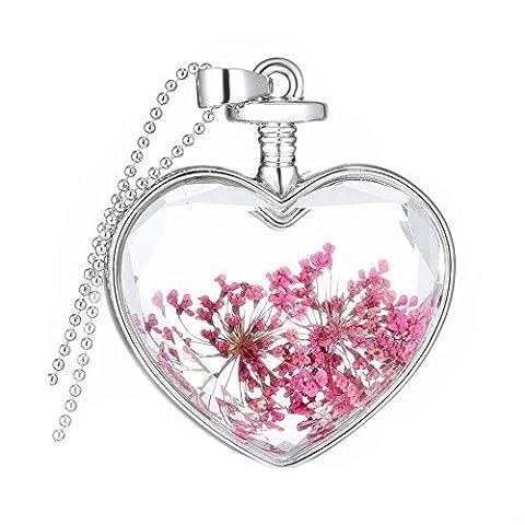 Parfum de charme flottant souhaitant bouteille Pendentif en verre Collier en chaîne Collier pendentif en coeur N008-08