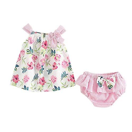 idung Set Neugeborene Jungen Mädchen Ärmellos Strampler Overall Blumendruck Tops+Kurze Hose Romper Outfits Spielanzug Set (Rosa, 0-6 Monate) ()