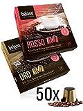 50x Belano Probiertset Nespresso kompatible Kapsel Capsule 100% Arabica Kaffee-Kapseln kompatibel mit Nespresso-Maschinen* 25x Oro 25x Rosso