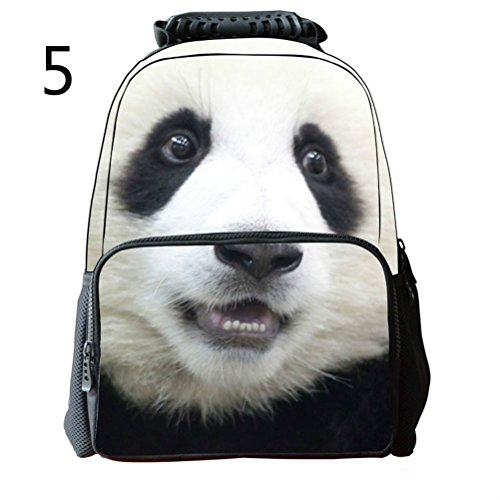 Pixnor Unisex Schulrucksack Taschen 3D Animal Print Reisen Wandern Tagesrucksäcke Panda